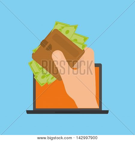 laptop wallet bills online payment shopping ecommerce icon. Flat illustration. Vector graphic