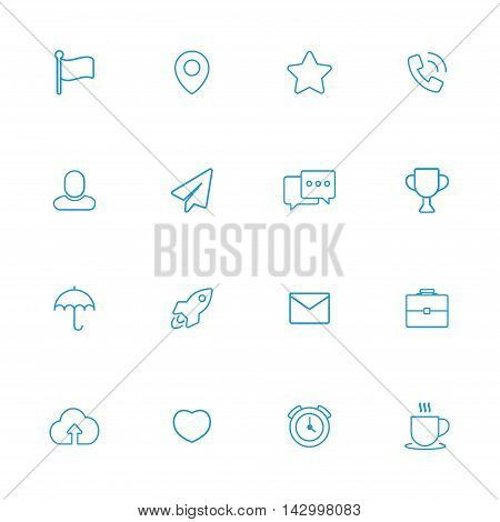Web miscellanea blue line icons set of 16