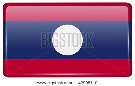Flags Laos In The Form Of A Magnet On Refrigerator With Reflections Light. Vector