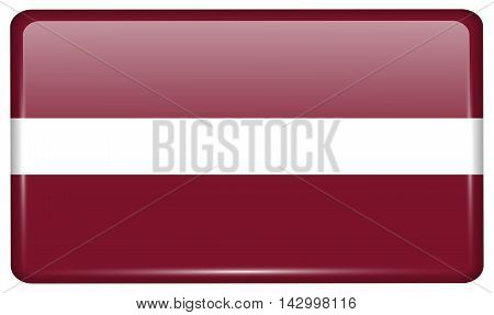 Flags Latvia In The Form Of A Magnet On Refrigerator With Reflections Light. Vector