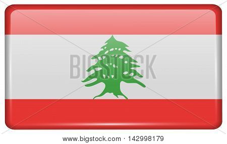 Flags Lebanon In The Form Of A Magnet On Refrigerator With Reflections Light. Vector