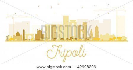 Tripoli City skyline golden silhouette. Vector illustration.