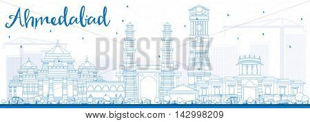 Outline Ahmedabad Skyline with Blue Buildings. Vector Illustration. Business Travel and Tourism Concept with Historic Buildings. Image for Presentation Banner Placard and Web Site.