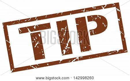 tip stamp. brown grunge square isolated sign