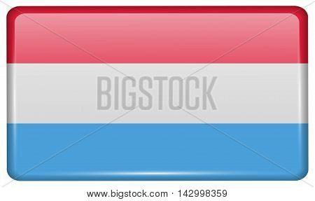Flags Luxembourg In The Form Of A Magnet On Refrigerator With Reflections Light. Vector