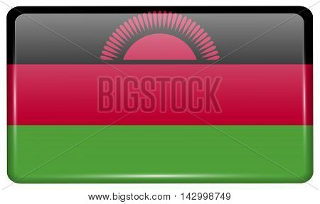 Flags Malawi In The Form Of A Magnet On Refrigerator With Reflections Light. Vector