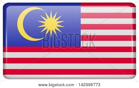 Flags Malaysia In The Form Of A Magnet On Refrigerator With Reflections Light. Vector