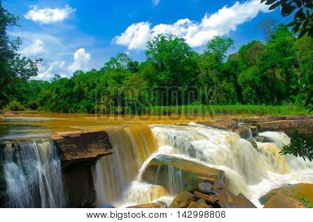 waterfalls background: Namtok Kaeng Sopha is a waterfall and tourist attraction in Wang Thong district of Phitsanulok Province in Thailand.