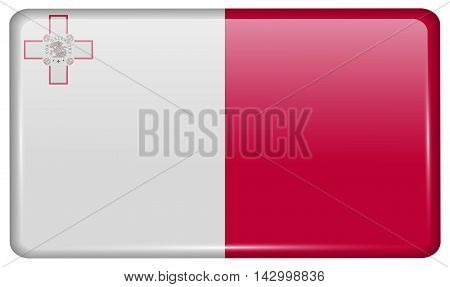Flags Malta In The Form Of A Magnet On Refrigerator With Reflections Light. Vector
