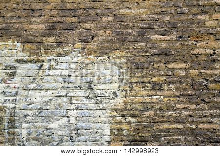 Old grunge brick painted wall texture background
