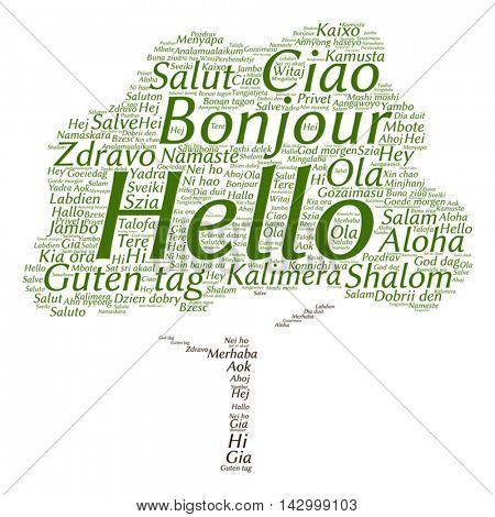 Vector concept or conceptual abstract tree hello or greeting international word cloud in different languages or multilingual
