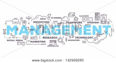 Vector creative illustration of management word lettering typography with line icons and tag cloud on white background. Business time risk management technology concept. Thin line art style design for business time risk management theme