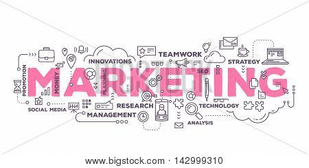 Vector creative illustration of marketing word lettering typography with line icons and tag cloud on white background. Marketing technology concept. Thin line art style design for business promotion social media theme