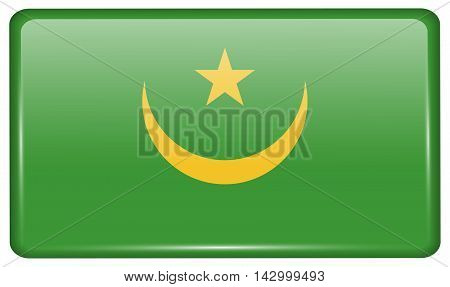 Flags Mauritania In The Form Of A Magnet On Refrigerator With Reflections Light. Vector