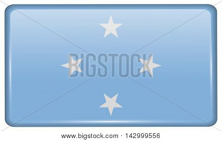 Flags Micronesia In The Form Of A Magnet On Refrigerator With Reflections Light. Vector
