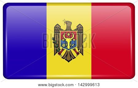 Flags Moldova In The Form Of A Magnet On Refrigerator With Reflections Light. Vector