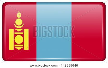 Flags Mongolia In The Form Of A Magnet On Refrigerator With Reflections Light. Vector