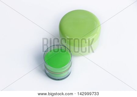 Set of 2 cosmetic cream and mask bottles