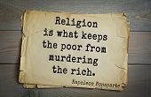 Постер, плакат: French emperor great general Napoleon Bonaparte 1769 1821 quote Religion is what keeps the poor