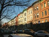 pic of suny  - Harlem typical house with many colors in New York - JPG