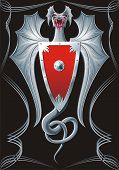 picture of armorial-bearings  - Winged spiteful iron serpent with red badge - JPG
