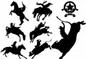 stock photo of bull riding  - Cowboy on horse silhouettes on a white background - JPG