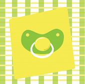 foto of dodo  - Green and yellow boy or girl pacifier - JPG