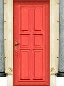 pic of front door  - This is the entire door of my best seller shot : Magic red door in Very High definition but put in situation between luxury walls - JPG