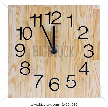 Wooden Clock Saying Five To Twelve