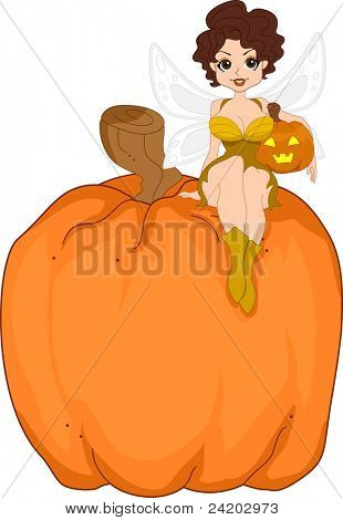 Illustration of a Pinup Girl Dresssed as a Pumpkin Fairy