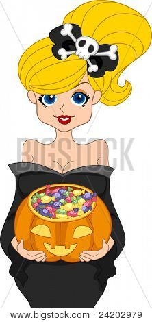 Illustration of a Pinup Girl Going Trick or Treating