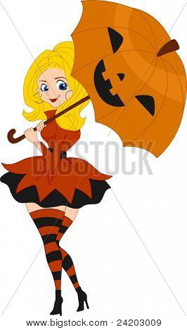 Illustration of a Pinup Girl Wearing a Pumpkin Inspired Costume