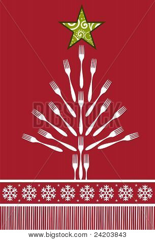 Christmas Tree Cutlery Background.