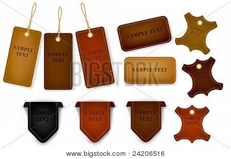 Big set of leather labels and tags. Vector illustration
