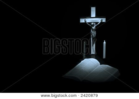 Blue Bible And Cross
