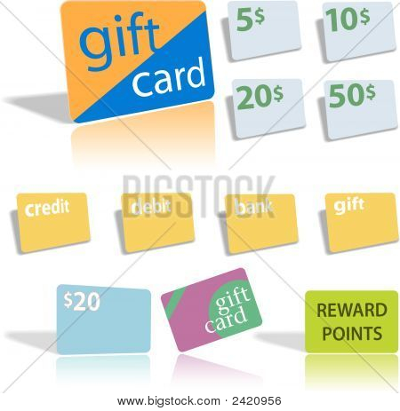 Gift Credit Debit Bank Cards.