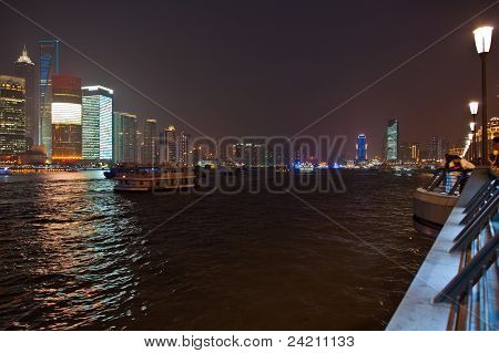 River through Shanghai at night
