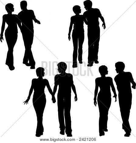 Man Woman Couple Walk Silhouettes.