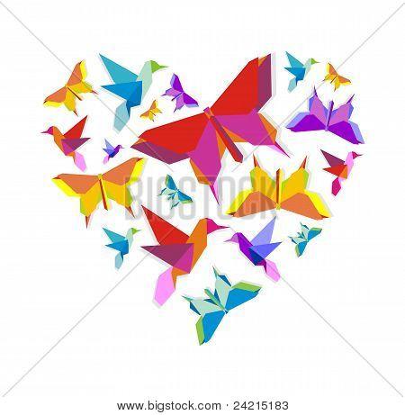 Resorte amor de pájaro de Origami