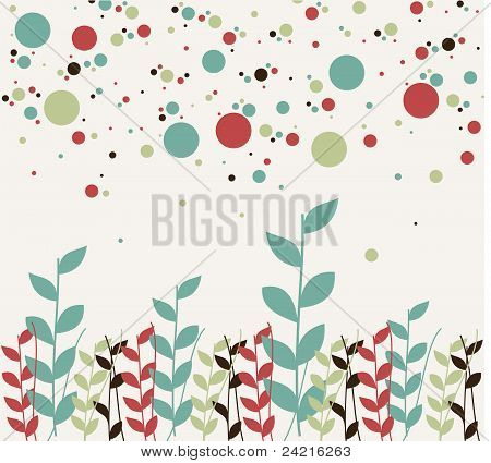 Floral And Bubbles Background