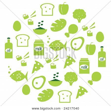 Green Abstract Globe With Food Icons ( Green )..
