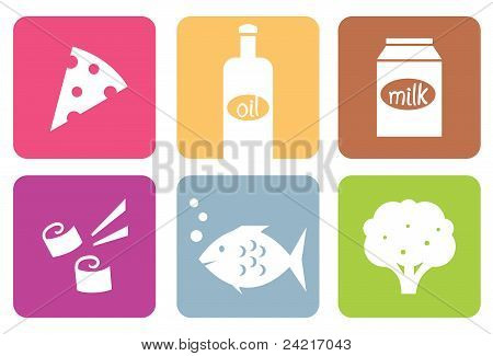 Colorful Food Modern Icons Or Elements Set Isolated On White ..