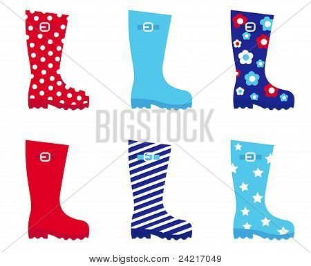 Fresh & Colorful Rubber Wellington Boots Isolated On White..