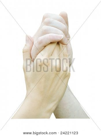 Hands holding each other isolated on white