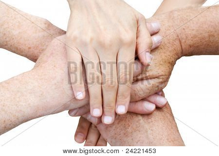 Six hands stack up, isolated on white background