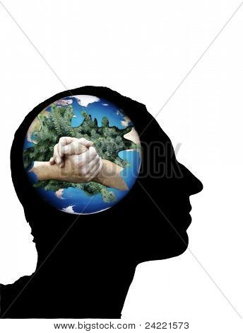 Climate symbol,global conscious in mind,black silhouette isolated on white