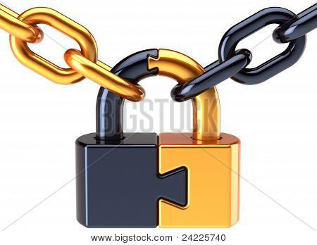 Puzzle lock padlock closed with chain colored golden black