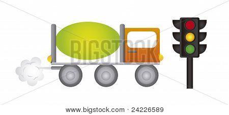 caminhão e semáforo