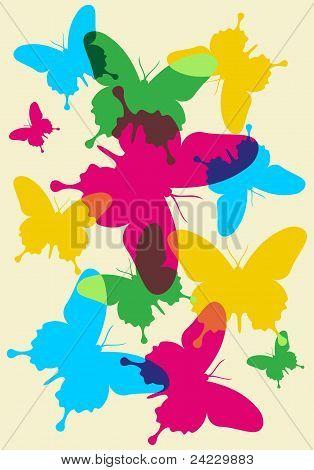Patrón de mariposas primavera