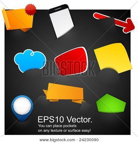 Vektor-Illustration der modernen Werbung leere Design-Elemente in Taschen.